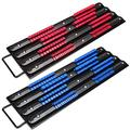 WXTOOLS 2 Pcs Set Portable Socket Organizer Tray 80-Pcs, Iron Premium Quality Adjustable Socket Holder, Tool Organizers 1/4-Inch, 3/8-Inch, 1/2-Inch, Heavy Duty Socket Rail Tool Tray, Blue & Red
