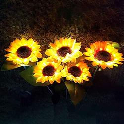 Topyuan Solar LED Outdoor Lights, Outdoor Sunflower Garden Lighting, Decorative Stake, Easy to Install, Large Realistic&Natural Looking Flowers for Courtyard, Front Yard, Patio, Balcony, Entryway