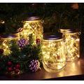 Abkshine 4 Pack Battery Operated Mason Jar Lights Kit, Creative Rustic Farmhouse Wall Decor, Hanging Glass Mason Jars with Twinkle Fairy Lights for Home Decor, Boho Decor