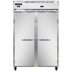 """Continental 2RFNSS 52"""" Two Section Commercial Refrigerator Freezer - Solid Doors, Top Compressor, 115v"""
