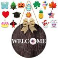 Wooden Seasonal Welcome Door Sign, Round Wood Front Door Sign Interchangeable Welcome Wood Sign Wooden Hanging Welcome Sign with Burlap Bow, 16 Piece Seasonal Ornament for Farmhouse Decoration (Brown)