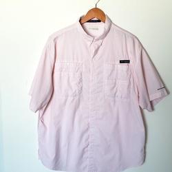 Columbia Shirts | Columbia Men'S Super Tamiami Short Sleeve Shirt L | Color: Pink/White | Size: L