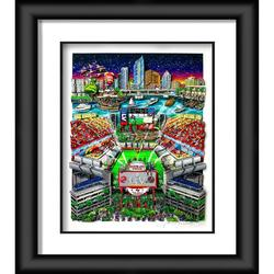 """Tampa Bay Buccaneers Fanatics Authentic Framed 23"""" x 27"""" Super Bowl LV Champions Artist Enhanced Deluxe Three-Dimensional Art Print Hand Painted and Signed by Charles Fazzino - Limited Edition of 250"""