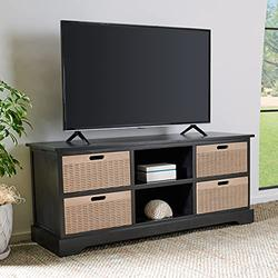 """Safavieh Black Home Collection Landers 4-Drawer Media Stand (up to 55-inch Flat Screen TV), 47.3"""" W x 15.8"""" L x 20"""" H"""
