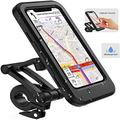 """AMOYE Bike Phone Mount, Waterproof Bike Cell Phone Holder for Motorcycle/Bike Handlebars, Bicycle Phone Case with Touch Screen Fits for Outdoor Riding Under 6.7"""" Phone Mount"""