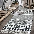 Abreeze Cotton Area Rug 4.2'x2' Hand Woven Cotton Rugs with Tassel Washable Cotton Throw Rug Runner for Farmhouse,Kitchen, Living Room, Bedroom