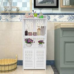 Large Bathroom Floor Cabinet, Freestanding Multipurpose Storage Cabinet with Drawer, 2 Open Shelves and Door Cupboard Floor Cabinet Multifunctional Bathroom Storage Organizer Rack【US Stock】
