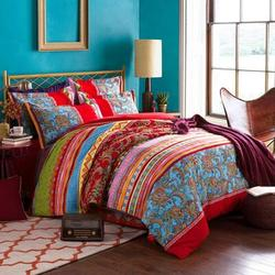 Bungalow Rose Tenessa Bohemian Duvet Cover SetMicrofiber in Blue/Pink/Red, Size Twin Duvet Cover + 1 Pillow Cases   Wayfair