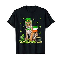 Tiger St Patricks Day Leprechaun Hat Irish Flag Ireland T-Shirt