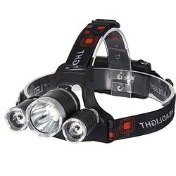 Tileon LED Headlamp Rechargeable witn 18650 Battery, Super Bright LED Headlight, IPX5 Waterproof, 4 Modes, Adjustable, Perfet for Camping, Hiking, Outdoors