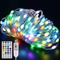 JMEXSUSS Color Changing Fairy Lights USB Powered 100 LED Fairy Lights with Remote,33ft Clear PVC Wire String Lights Outdoor Waterproof, 12 Modes Twinkle Lights