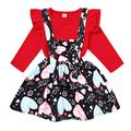 Toddler Baby Girl Valentine's Day Outfit Long Sleeve Ruffle Heart Print Shirt Top +Suspender Strap Skirts Set (Red Shirt+Heart Skirt, 12-18 Months)