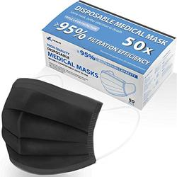 BREATHPower 50pcs Disposable Black Medical Mask | Lab Tested, Cooling 3Ply Disposable Face Mask | Heavy Duty Tensile Strength Medical Face Masks | Conforming Indoor Outdoor Medical Grade Face Mask