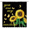 LIVEFUN Sunflower Shower Curtain You are My Sunshine Wild Flower Gold Sunflower Butterfly on Black Starry Sky Background Fabric Bathroom Decor Curtain with 12 Hooks,71x71 Inch,Yellow Green Black