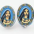 Disney Jewelry | Disney Pocahontas Vtg Stain Glass Clip-On Earrings | Color: Blue/Tan | Size: Os