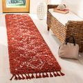 "SAFAVIEH Pro Luxe Shag Collection PLX432P Moroccan Boho Tassel Non-Shedding Living Room Bedroom Dining Room Entryway Plush 2.4-inch Thick Runner, 2'6"" x 10', Rust / Cream"