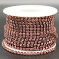Towenm 1 Roll 10 Yards Rhinestone Chain, 3mm Crystal Rhinestones Close Chain Roll, Sew on Crystal Rhinstone Chain Trim, Crystal Claw Cup Chain (Light Purple/Light Amethyst, SS12 / 3mm)
