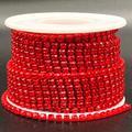 Towenm 1 Roll 10 Yards Rhinestone Chain, 3mm Crystal Rhinestones Close Chain Roll, Sew on Crystal Rhinstone Chain Trim, Crystal Claw Cup Chain (Siam / Red, SS12 / 3mm)