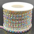 Towenm 1 Roll 5 Yards Large Crystal Rhinestones Close Chain, 4.2mm Rhinestone Chain, Sew on Crystal Rhinstone Chain Trim, Crystal Claw Cup Chain Roll (Silver Base + Crystal AB, SS18 / 4.2mm)