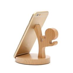 Cute Cell Phone Stand [4 Piece], MHKBD Wooden Cell Phone Holder Desktop Cellphone Stand Universal Desk Stand for All Mobile Smart Phone, Great Gift for Families Business Friends, Kungfu Boy