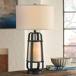 Stacey Rustic Farmhouse Industrial Table Lamp with Night Light Bronze Metal Natural Mica Linen Drum Shade Decor for Living Room Bedroom House Bedside Nightstand Home Office - Franklin Iron Works