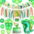 1st Birthday Baby Chair Banner Set Dinosaur Themed Party Decorations Supplies Includes 1st Birthday Dinosaur High Chair Burlap Banner, Dinosaur Photo Banner, Crown Tiara, Cake Topper, Green Balloons
