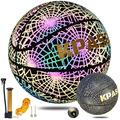 """Basketball KPASON Holographic Basketball Glow in The Dark Reflective Basketball for Kids Adults, Official Size 7(29.5"""") Indoor-Outdoor Composite Leather Basketball with Pump"""