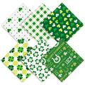 Whaline St. Patrick's Day Cloth Napkins 6 Pack Dinner Table Napkins Green Shamrock Clover Pattern Placemat Napkins Washable Reusable Cotton Napkins Handkerchief for Home Kitchen Holiday Party Decor