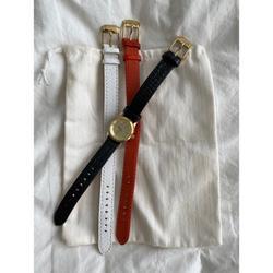Michael Kors Accessories   Michael Kors Leather Strap Watch   Color: Black/Orange   Size: Os