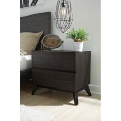 Tahoe Solid Wood Two Drawer Nightstand in Umber Grey - Modus 6RP781