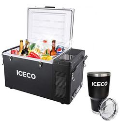 ICECO VL35 37 Quart Portable Refrigerator Freezer, Car Fridge & Refrigerator with SECOP Compressor, 12 Volt Freezer Refrigerator, AC 110-240V, DC 12/24V, -8℉ to 50℉, Home & Car Use (VL35+Bottle)