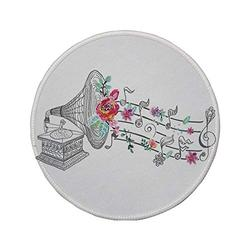 """Non-Slip Rubber Round Mouse Pad,Music Decor,Vintage Gramophone Record Player with Floral Ornament Blossom Antique,Grey Pink,7.87""""x7.87""""x3MM"""