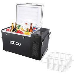 ICECO VL35 37 Quart Portable Refrigerator Freezer, Car Fridge & Refrigerator with SECOP Compressor, 12 Volt Freezer Refrigerator, AC 110-240V, DC 12/24V, -8℉ to 50℉, Home & Car Use (VL35+Basket)