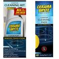Cerama Bryte Cooktop Cleaning Kit, 10 oz Cooktop Cleaner, 2 Cleaning Pads & POW-R Grip Pad Tool, and Scraper & Glass-Ceramic Cooktop Cleaning Pads for Stubborn Stains, 10 Count