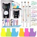 Cat Office Supplies Cat-shaped Sticky Notes Paper Clips Transformer Telescopic Pencil Pouch Holder Cat Gel Ink Pens Cartoon Cat Note Page Flag for Home School Office Cat Lovers (Vivid Black Cat)