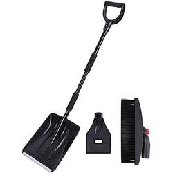 3-in-1 Snow Shovel Kit Portable Snow Shovel,Shovel for Snow Removal,Snow Shovel for Driveway with Ice Scraper and Snow Brush (Black)