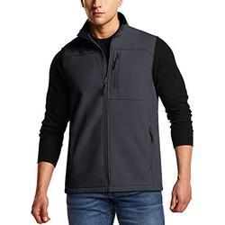 TSLA CLSL Men's Sleeveless Softshell Vest, Full-Zip Windbreaker Vest, Outdoor Golf Travel Hiking Vest, Vest(ykj71) - Dark Grey, XX-Large