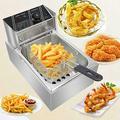 6L 2500W Electric Deep Fryer Commercial Stainless Steel Countertop Kitchen Frying Machine Professional Restaurant Grade Fryers