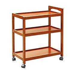 LiPengTaoHome Utility Cart Storage Cart Storage Shelves 3 Tier Rolling Cart Wood Storage Rack Service Cart Kitchen Cart Storage Shelves (Color : Brown, Size : 593472.5cm)