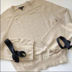 J. Crew Sweaters   Jcrew J.Crew Bow Sleeves Crew Neck Sweater   Color: Tan   Size: M