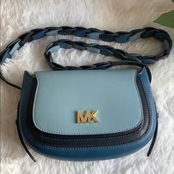 Michael Kors Bags   Nwt Michael Kors Small Leather Saddle Bag   Color: Blue   Size: Os