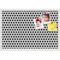 PinPix ArtToFrames 30x20 Inch Custom Cork Bulletin Board. This Black and White Dots Pin Board Has a Fabric Style Canvas Finish, in a Satin White Frame (PinPix-200-30x20_FRBW26074)