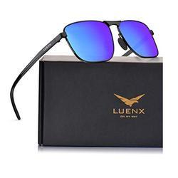 LUENX Men Rectangular Polarized Sunglasses Square Retro Shades - Black Frame Dark Blue Mirror Lens 60mm