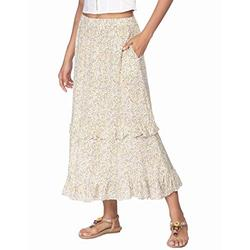Zeagoo Peasant Skirt Pleated Skirt Midi Skirt Long Floral Skirt Plus Size Elastic Waist Skirts for Women Long Skirt High Waist Midi Skirt XL