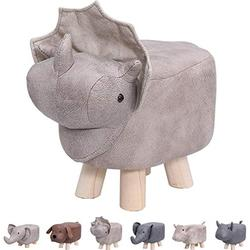 Animal Footstools, Ottomans Padded Cushion Footstool Pouffe Stool Rest Seat Sofa Chair Kids Learning Stool Elephant Bench Shoes Children Cartoon Stool Solid Wood Stool (Dinosaur)