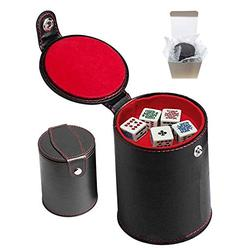 Set of Dice Cup with Storage Compartment Black PU Leather Red Felt Lined + (5) 16mm Poker Dice (Gift Boxed) (Poker (Squared Corners, Clubs Ace) - White)