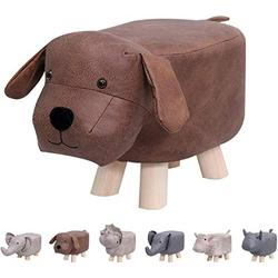 Animal Footstools, Ottomans Padded Cushion Footstool Pouffe Stool Rest Seat Sofa Chair Kids Learning Stool Elephant Bench Shoes Children Cartoon Stool Solid Wood Stool (Dog)