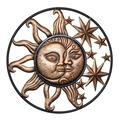 "Metal Celestial Wall Art Decor - Sun Moon and Stars Wall Decor, Large 25"" Diameter Rustic Indoor Outdoor Garden Patio Porch Hanging Sign Wall Plaque Sculpture"