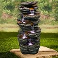 UKN 40-inch Tired Outdoor Rock Water Fountain Cascading Waterfall W/Light Grey Modern Contemporary Polyresin