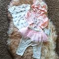 Disney Matching Sets | Disney Baby 0-3 Month Minnie Mouse 3 Piece Set Nwt | Color: Gray/Pink | Size: 0-3mb
